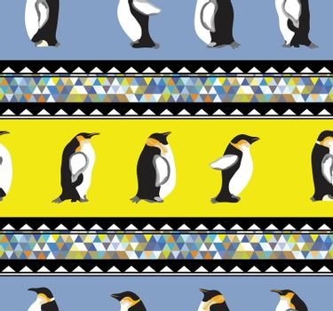 Seamless texture with penguins and a triangular design  Winter theme