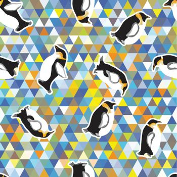 texture with penguins and a triangular design