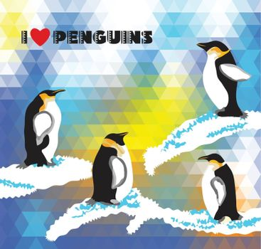Postcard with penguins and a triangular design
