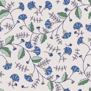 seamless texture with cornflowers and leaves on a light background