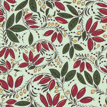 seamless texture in the Russian style with barberry
