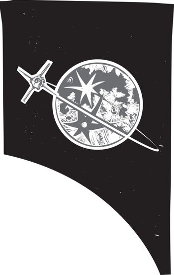 Woodcut style image of the Earth's moon and an orbiting satellite