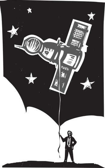 Woodcut style image of a man in a business suit holding a Russian Soyuz capsule on the end of a string.