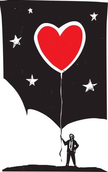 Woodcut style image of a man in a business suit holding a heart shaped balloon.