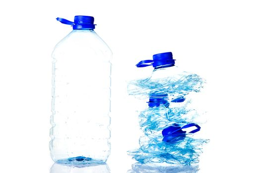 Plastic bottles prepared for recycling.