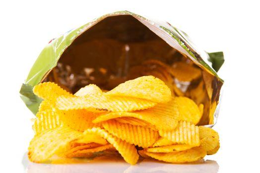 Yellow, tasty but unhealthy potatoe chips.