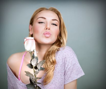 Sweet female with rose