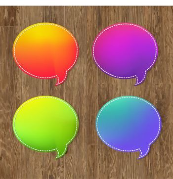 Antique Wooden Background With Speech Bubble, With Gradient Mesh, Vector Illustration