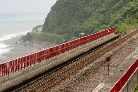 Coastline with railway