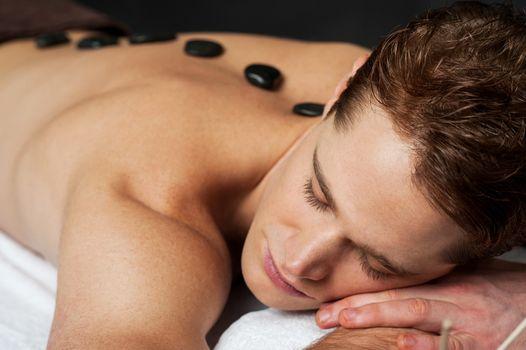 Man having massage at spa