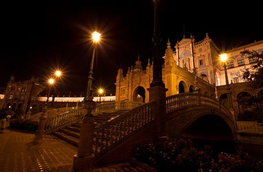 Plaza de Espana at night, Seville