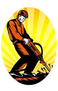 Construction Worker Jackhammer Oval