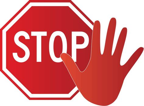 A stop sign and a hand
