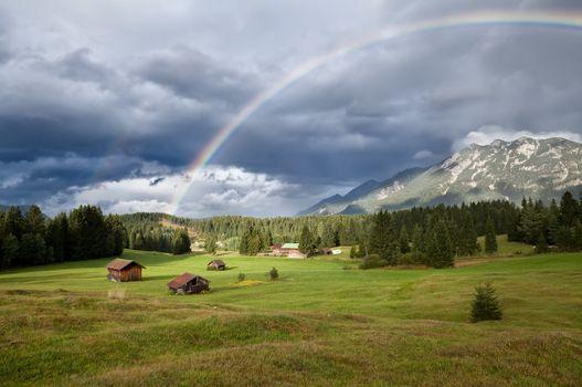rainbow over Karwendel mountain range in Bavaria