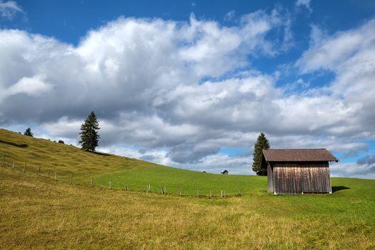 wooden hut on alpine meadow