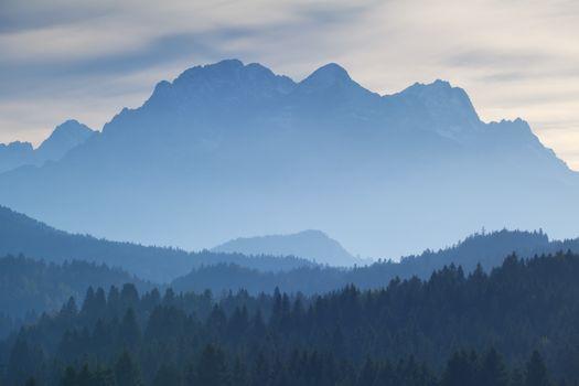 Karwendel mountain range in dusk fog