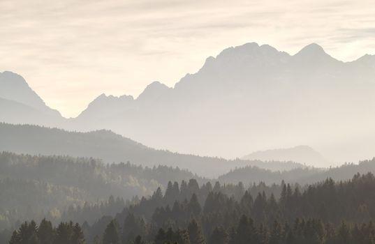 Misty sunshine in mountains