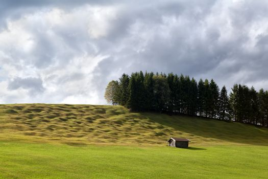 lonely wooden hut on alpine meadows