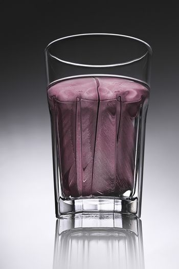 simple water-glass with structured water in red