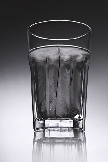 simple water-glass with structured water