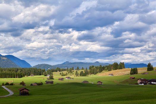 cloudy sky over Bavarian farmland