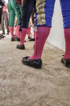 Bullfighters at the paseillo or initial parade Bullfight at Baeza bullring