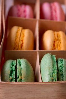 Multicolored macaroon in a box