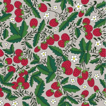 seamless texture with strawberries and leaves. Can be used as a background picture, pattern fill, surface texture, a figure for tissue