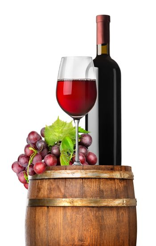 Grape and wine on a barrel