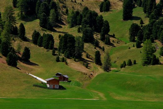 beautiful green mountain landscape with meadow and trees house