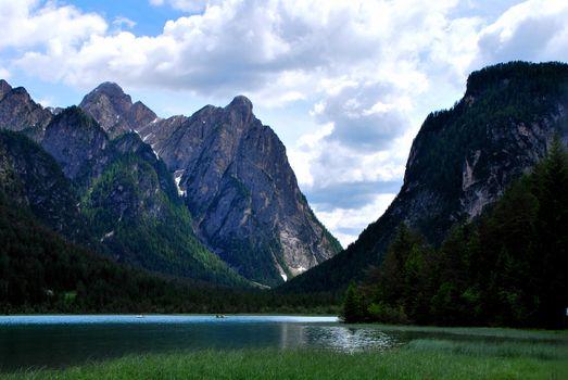beautiful mountain lake in high mountains