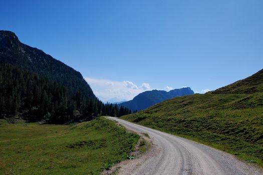 beautiful mountains mountainbike route with high and green landscape