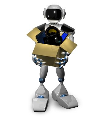 3d illustration of a robot with a box of gadgets