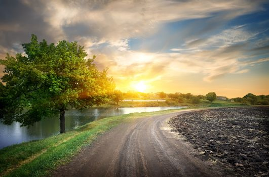 Country road and river