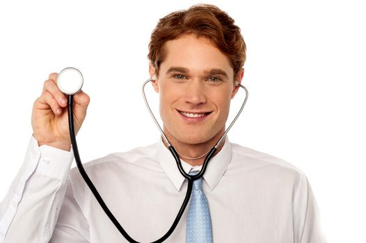 Physician posing withstethoscope