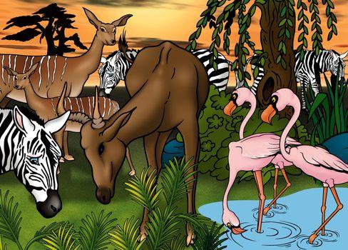 African Animals - Cartoon Background Illustration, Bitmap