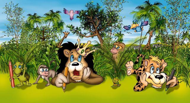 Animals Artists - Cartoon Background Illustration