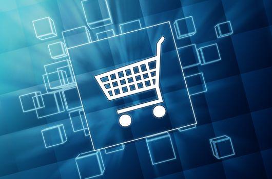 shopping cart sign in blue glass blocks