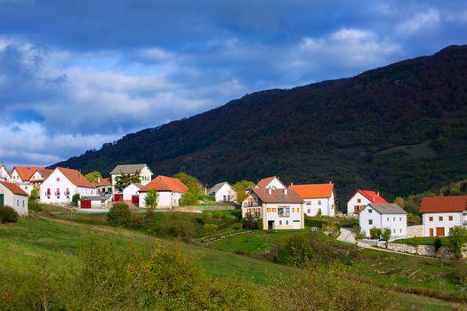 Obarba village in Navarra near Irati Pyrenees