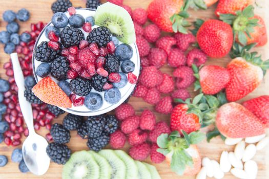 Healthy nutritious fresh fruits on a wooden table