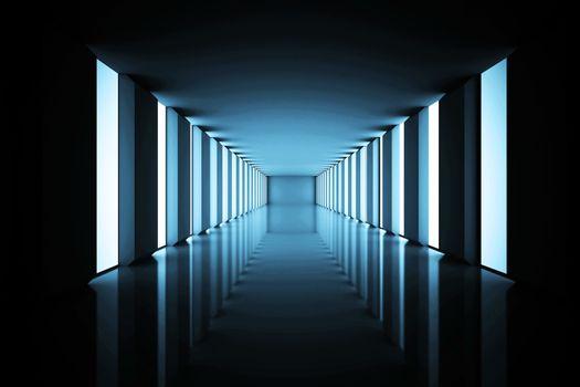 Lit up black modern hallway