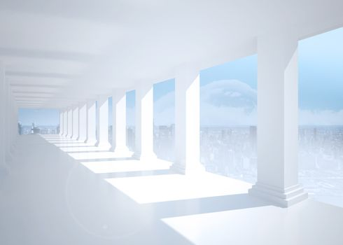 Bright white room with columns