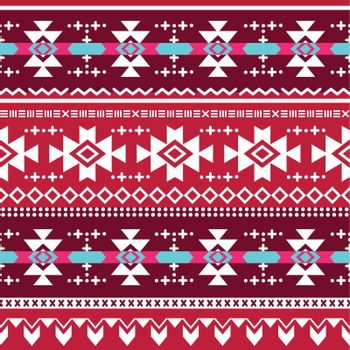 Vector seamless aztec ornament, ethnic pattern in red, brown, pink and blue