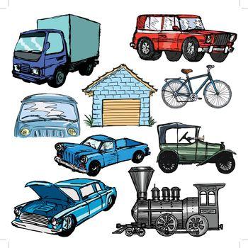set of sketch illustrations of the transportation