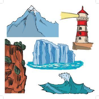 set of sketch illustrations of the landscapes