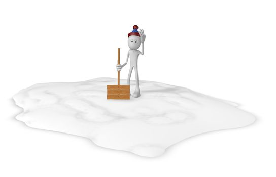 cartoon guy with snow shovel - 3d illustration