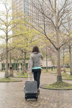 travel woman at street