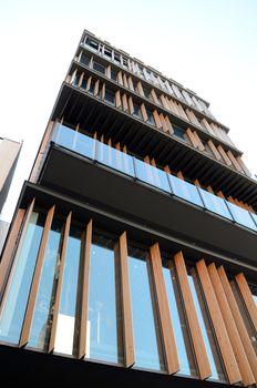 Wooden fin facade of a modern building