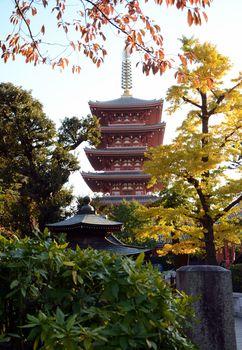 Pagoda of Senso-ji temple in Asakusa, Tokyo, Japan