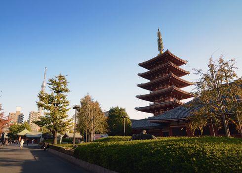 Five-storey pagoda at Sensoji Temple in Tokyo, Japan.
